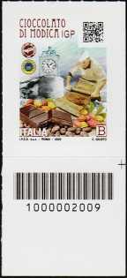 Cioccolato di Modica  I.G.P. - francobollo con codice a barre n° 2009 in BASSO a destra