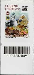 Cioccolato di Modica  I.G.P. - francobollo con codice a barre n° 2009 in BASSO a sinistra