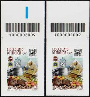 Cioccolato di Modica  I.G.P. - coppia di francobolli con codice a barre n° 2009 in ALTO destra-sinistra