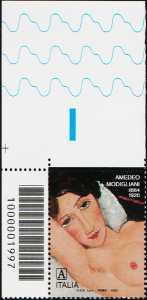 Amedeo Modigliani - Centenario della scomparsa - francobollo con codice a barre n° 1997 in ALTO a sinistra