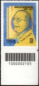 Arnoldo Mondadori - Cinquantenario della scomparsa - francobollo con codice a barre n° 2105 in BASSO a destra