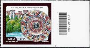 Emissione Italia n° 20 del 2017 Eccellenze del sistema produttivo ed economico - Ceramica di Montelupo Fiorentino quartina con codice a barre sul bordo  Clicca sull'immagine per ve