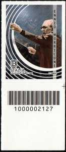 Le Eccellenze italiane dello spettacolo   :  Ennio Morricone - francobollo con codice a barre n° 2127 in BASSO a destra
