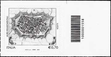 2013 - Patrimonio artistico e culturale italiano : Mura rinascimentali di Lucca - codice a barre n° 1558