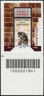 Museo Storico della Liberazione - 60° della istituzione - francobollo con codice a barre n° 1841