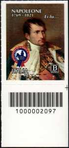 Bicentenario della morte di Napoleone Bonaparte - francobollo con codice a barre n° 2097 in BASSO a destra
