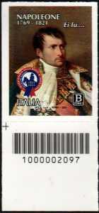 Bicentenario della morte di Napoleone Bonaparte - francobollo con codice a barre n° 2097 in BASSO a sinistra