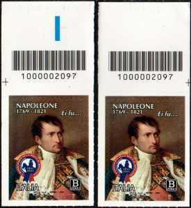 Bicentenario della morte di Napoleone Bonaparte - coppia di francobolli con codice a barre n° 2097 in ALTO destra-sinistra