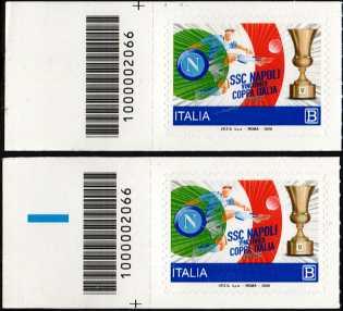 S.S. Napoli Calcio S.p.A. - Vincitrice della Coppa Italia 2020 - coppia di francobolli con codice a barre n° 2066 a SINISTRA alto-basso