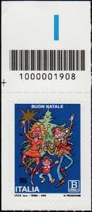 2018 - Natale laico - francobollo con codice a barre n° 1908 in ALTO a sinistra