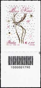 Il Natale laico - francobollo con codice a barre n° 1790