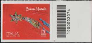 Natale laico - francobollo con codice a barre n° 2074 a DESTRA in basso