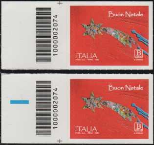 Natale laico - coppia di francobolli con codice a barre n° 2074 a SINISTRA alto-basso