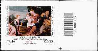 Il Santo Natale - Madonna col Bambino e Santi Giuseppe e Caterina d'Alessandria - francobollo con codice a barre n° 1705