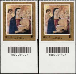 2018 - Natale religioso - coppia di francobolli con codice a barre n° 1907  in BASSO a destra-sinistra