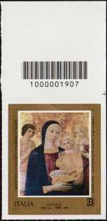 2018 - Natale religioso - francobollo con codice a barre n° 1907  in ALTO a destra
