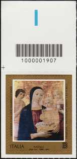 2018 - Natale religioso - francobollo con codice a barre n° 1907  in ALTO a sinistra