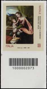 Natale religioso - francobollo con codice a barre n° 2073 in BASSO a sinistra