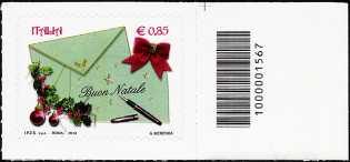 Italia 2013 - Natale laico - codice a barre n° 1567