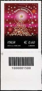 Italia 2012 - Natale laico - codice a barre n° 1500
