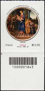 Il Santo Natale - francobollo con codice a barre n° 1843