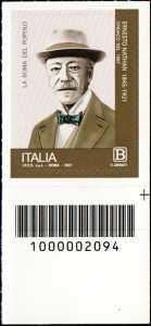 Centenario della morte di Ernesto Nathan - francobollo con codice a barre n° 2094 in BASSO a destra