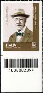 Centenario della morte di Ernesto Nathan - francobollo con codice a barre n° 2094 in BASSO a sinistra