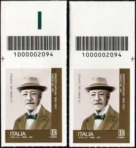 Centenario della morte di Ernesto Nathan - coppia di francobolli con codice a barre n° 2094 in ALTO destra-sinistra