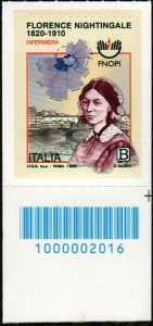 Professione infermieristica - Florence Nightingale - Bicentenario della nascita - francobollo con codice a barre n° 2016 in BASSO a destra
