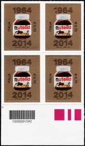 2014 -  Le eccellenze del sistema produttivo ed economico  - 50° Anniversario della creazione della 'Nutella' - quartina codice a barre n° 1592