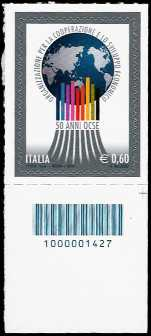 Italia 2011 - 50° anniversario dell'OCSE - codice a barre n° 1427