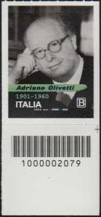 Adriano Olivetti - 60° Anniversario della scomparsa - francobollo con codice a barre n° 2079 in BASSO a destra