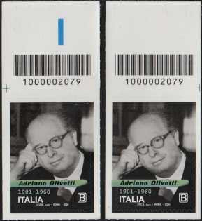 Adriano Olivetti - 60° Anniversario della scomparsa - coppia di francobolli con codice a barre n° 2079 in ALTO destra-sinistra