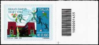 Italia 2012 - Giulio Onesti - codice a barre n° 1455