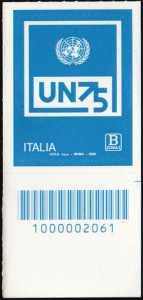 O.N.U.  - Organizzazione delle Nazioni Unite - 75° della fondazione - francobollo con codice a barre n° 2061 in BASSO a destra