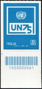 O.N.U.  - Organizzazione delle Nazioni Unite - 75° della fondazione - francobollo con codice a barre n° 2061 in BASSO a sinistra