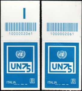 O.N.U.  - Organizzazione delle Nazioni Unite - 75° della fondazione - coppia di francobolli con codice a barre n° 2061 in ALTO sinistra-destra