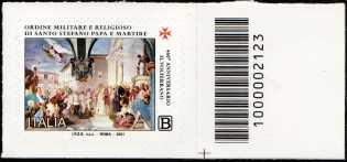 460° Anniversario della costituzione dell'Ordine Militare e Religioso di Santo Stefano Papa e Martire - francobollo con codice a barre n° 2123 a DESTRA in basso