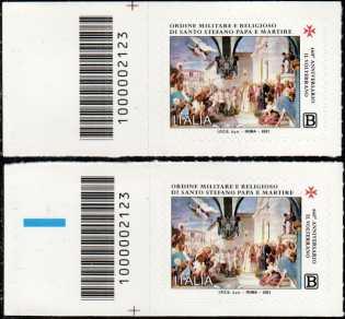 460° Anniversario della costituzione dell'Ordine Militare e Religioso di Santo Stefano Papa e Martire - coppia di francobolli con codice a barre n° 2123 a SINISTRA alto-basso