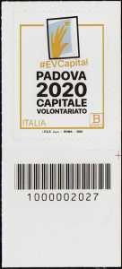 Padova Capitale Europea del Volontariato 2020 - francobollo con codice a barre n° 2027 in BASSO a destra
