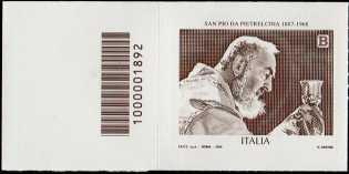 San Pio da Pietrelcina - 50° Anniversario della scomparsa - francobollo con codice a barre n° 1892 A SINISTRA in alto