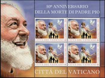 50° Anniversario della morte di Padre Pio - minifoglio