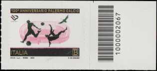 Palermo Football Club S.p.A. - 120° Anniversario della fondazione - francobollo con codice a barre n° 2067 a DESTRA  in alto