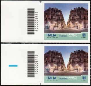 L' Italia riparte  : Palermo - coppia di francobolli con codice a barre n° 2115 a SINISTRA alto-basso