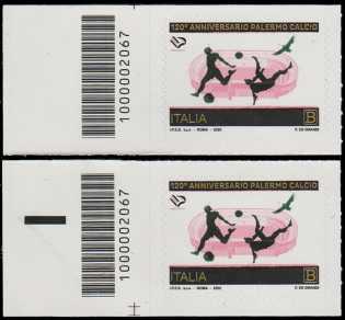 Palermo Football Club S.p.A. - 120° Anniversario della fondazione - coppia di francobolli con codice a barre n° 2067 a SINISTRA alto-basso