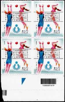 XVII° Campionato Mondiale di pallavolo femminile - quartina con codice a barre n° 1619