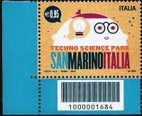 Parco tecnologico scientifico San Marino-Italia - Robot - francobollo con codice a barre n° 1684