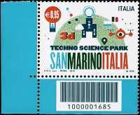 Parco tecnologico scientifico San Marino-Italia - 3D - francobollo con codice a barre n° 1685