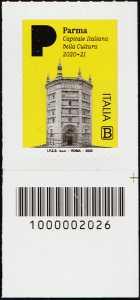 Parma - Capitale italiana della Cultura 2020 - francobollo con codice a barre n° 2026 in BASSO a destra