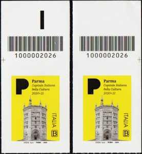 Parma - Capitale italiana della Cultura 2020 - coppia di francobolli con codice a barre n° 2026 in ALTO destra-sinistra